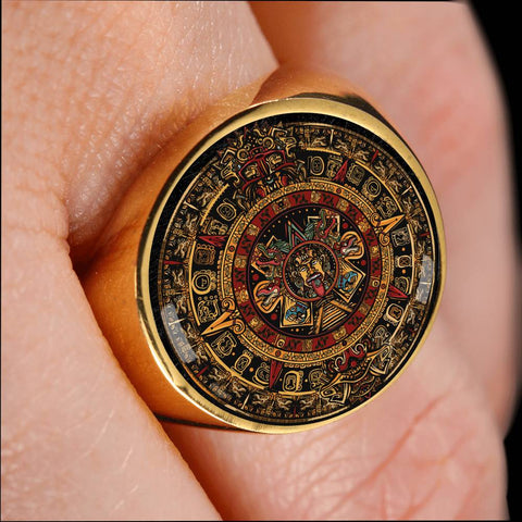 Mexico Ring Aztec Sun Stone Tattoo A7