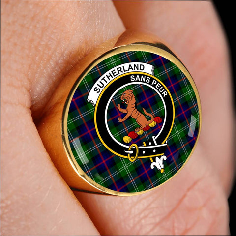 Sutherland II Tartan Crest Ring Th8