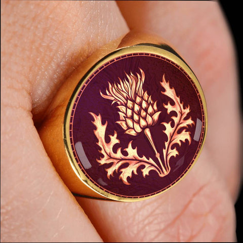 Lonely Scottish Thistle Gold/Silver Ring A6
