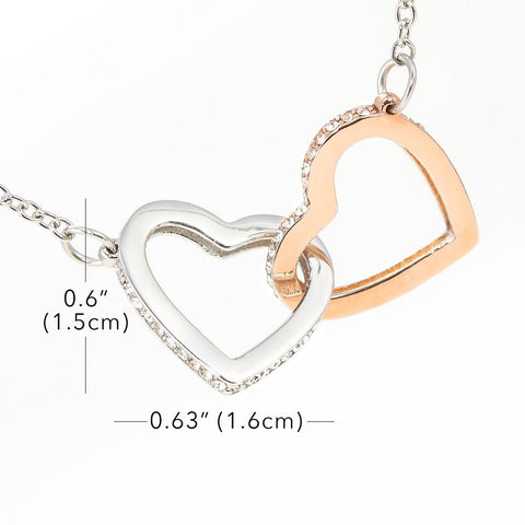 "Mom to Daughter: ""Braver"" Interlocking Hearts Necklace A7"