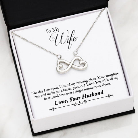 "Husband to Wife: ""Complete"" Infinity Necklace in White Gold A7"