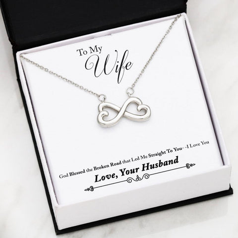 "Husband to Wife: ""Broken Road"" Infinity Necklace in White Gold A7"