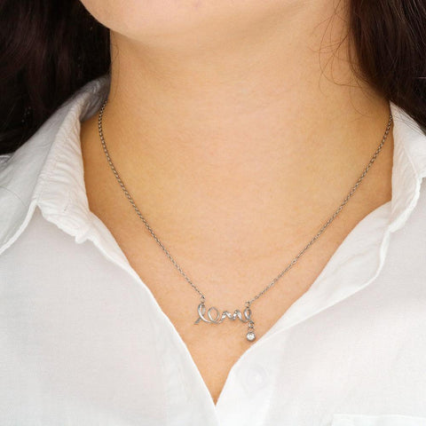 "Mom to Daughter: ""Forever"" Scripted Love Necklace in Silver A7"