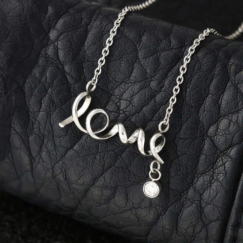 "Mom to Daughter: ""Braver"" Scripted Love Necklace in Silver A7"