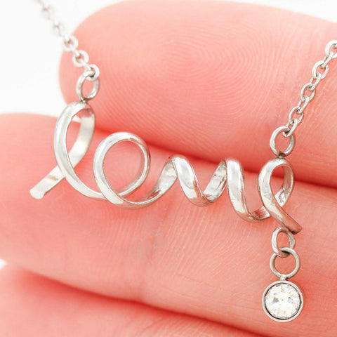 "Remembrance: ""Piece"" Scripted Love Necklace in Silver A7"