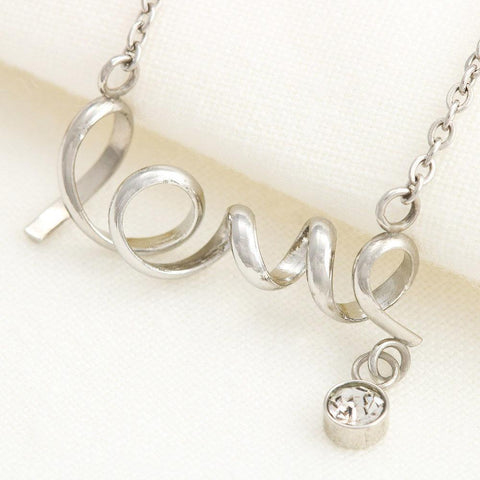 "Husband to Wife: ""Heart"" Scripted Love Necklace in Silver A7"