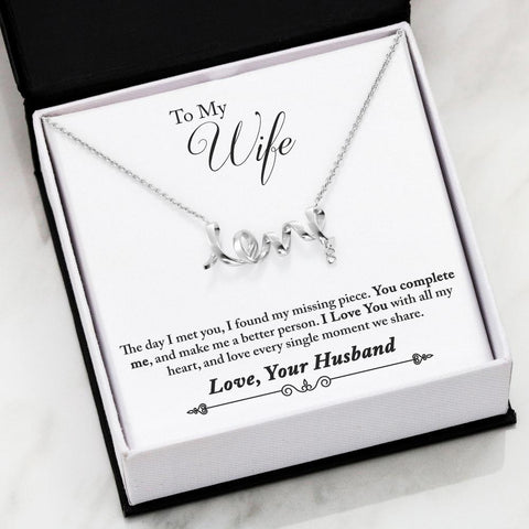 "Husband to Wife: ""Complete"" Scripted Love Necklace in Silver A7"