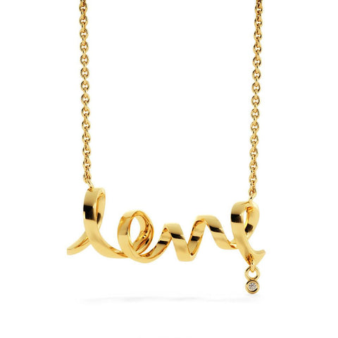 "Dad to Daughter: ""Never"" Scripted Love Necklace in Gold A7"