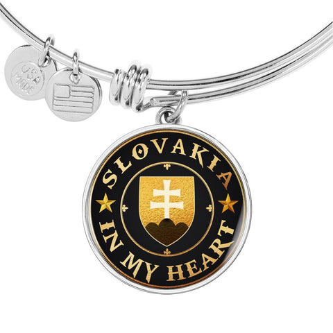 Slovakia in My Heart Gold/Silver Circle Bangle A7