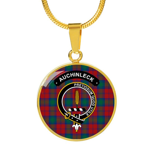 Auchinleck Or Affleck Clan Tartan Golden Necklace And Bangle A9 Luxury Necklace (Gold) Jewelries