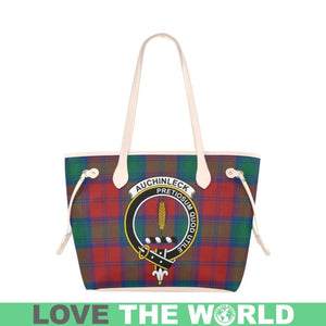 Auchinleck Tartan Handbag - Tartan Clan Badge Large Leather Tote Bag Nn5