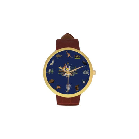 Australia Animals Luxury Watch TH7 One Size / Womens Golden Leather Strap Watch(Model 212) Watches
