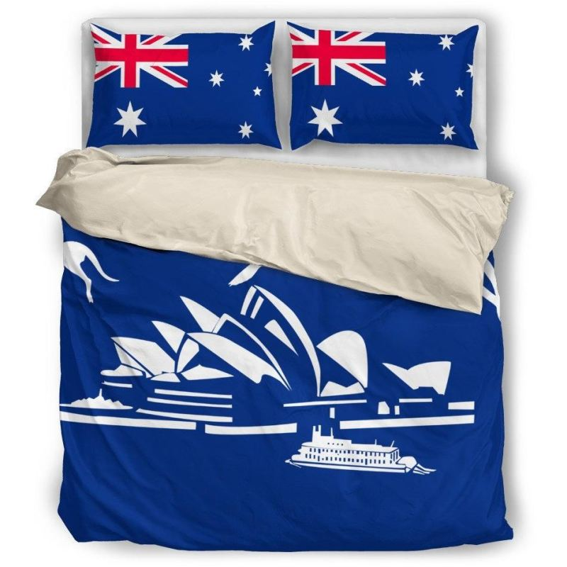 Australia Flag Kangaroo And Sydney Opera Bedding Set