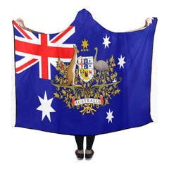 AUSTRALIA FLAG COAT OF ARM HOODED BLANKET - BN01