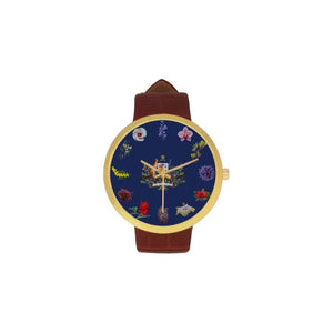 Australia Flowers Luxury Watch TH7 One Size / Womens Golden Leather Strap Watch(Model 212) Watches