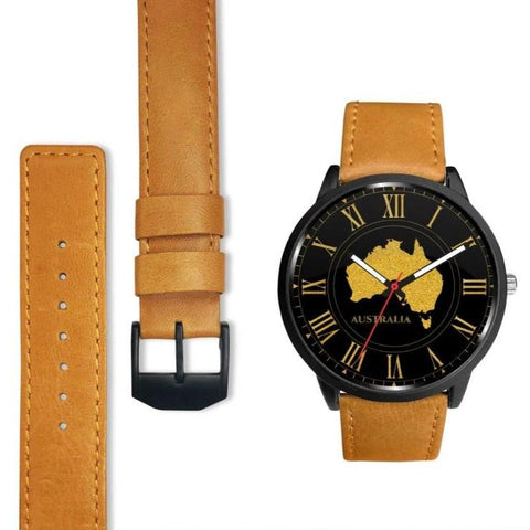 Australia Golden Sparkle Map Leather/steel Watch C1 Mens 40Mm / Metal Link Leather-Steel Watches