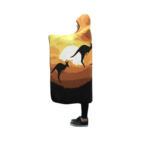 Australia Kangaroo Hooded Blanket D9 One Size / Hooded Blanket Hooded Blanket 50X40 Blankets