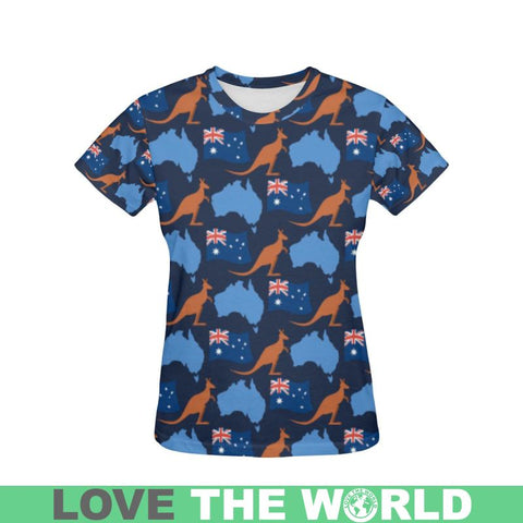 Australia Map And Kangaroo T-Shirt S12 S / Men Polyester - All Over Print T-Shirts