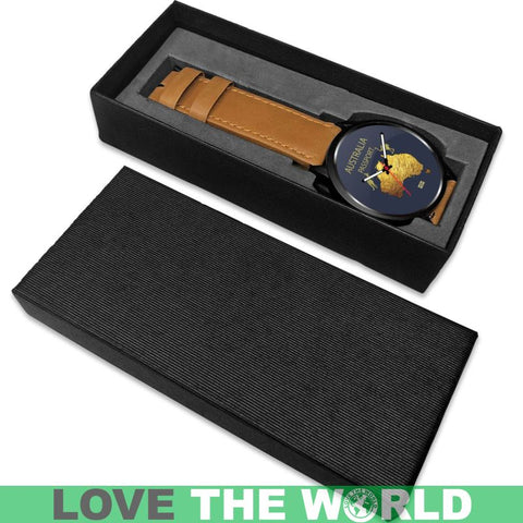 Lovetheworld Leather/Steel Watch Australia Passport Pattern - M8 |Men and Women| 1sttheworld