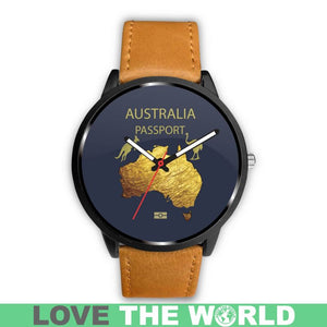Lovetheworld Leather/Steel Watch Australia Passport Pattern - M8