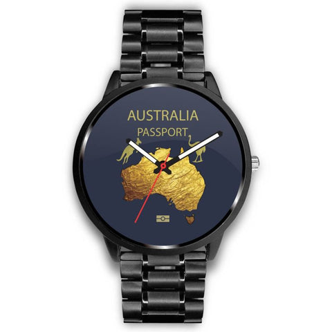 LoveTheWorld Leather/Steel Watch Australia Passport Pattern - Sd1 Mens 40Mm / Metal Link Leather - Steel Watches