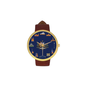Australia Structural Symbols Luxury Watch TH7 One Size / City Womens Golden Leather Strap