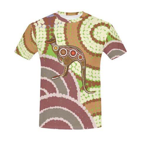 Australian Kangaroo Dot Painting T-Shirt C1 S / Men Polyester - All Over Print T-Shirts