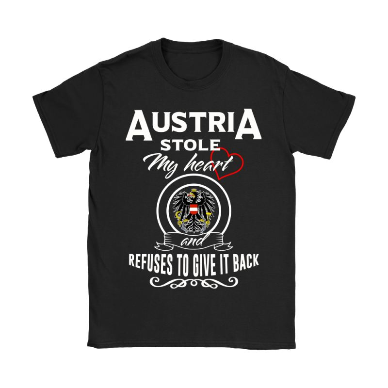 Austria Stole My Heart T-Shirts Nh1 Gildan Womens T-Shirt / Black S