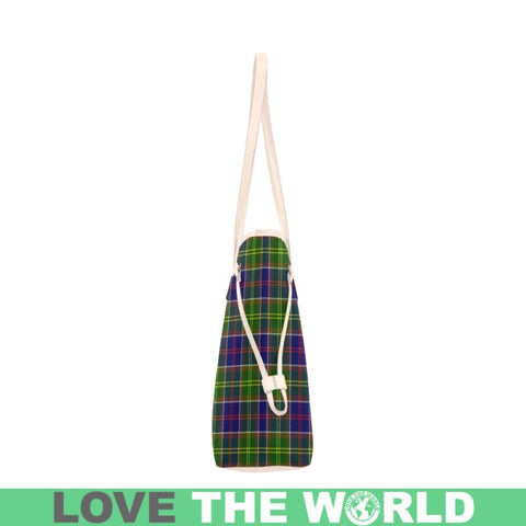 Ayrshire District Tartan Clover Canvas Tote Bag S1 Bags