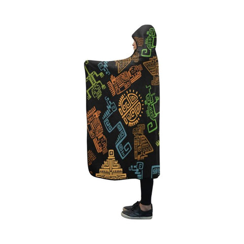 Aztec 01 Hooded Blanket D9 One Size / Hooded Blanket 50X40 Blankets