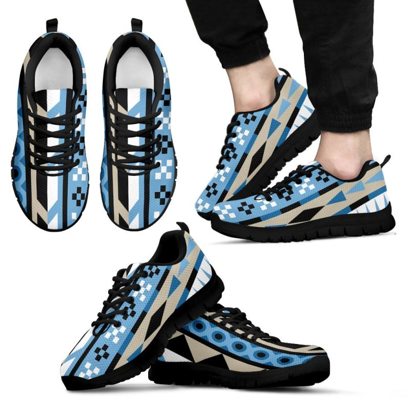 Aztec Blue Pattern Shoes Th1 Mens Men's / Women's Sneakers (Shoes)- Black B1 / Us5 (Eu38) Sneakers