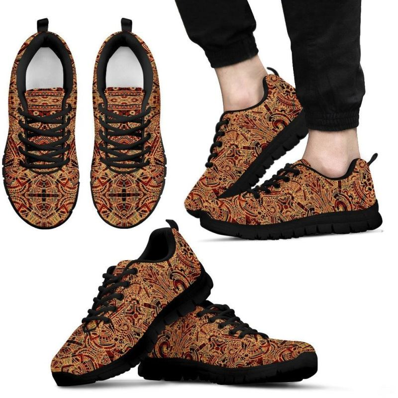 Aztec Pattern 01 Shoes Mens Sneakers - Black Aztec Pattern Shoes / Us5 (Eu38)