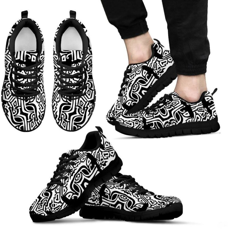 Aztec Pattern Shoes Mens Sneakers - Black Sneakers / Us5 (Eu38)