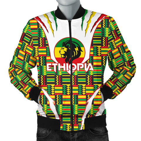 1stTheWorld Ethiopia Bomber Jacket, Ethiopia Lion Scratch Men Africa Pattern A10