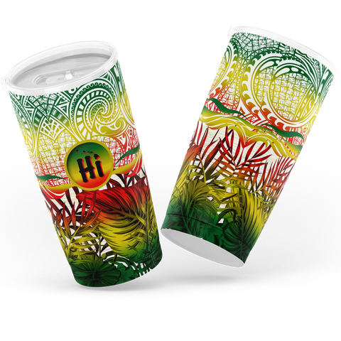 Kanaka Maoli (Hawaiian) Tumbler, Map Polynesian Palm Leaves Hibiscus Plumeria Flowers (Reggae) | Love The World