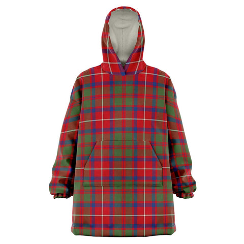 Image of Shaw Red Modern Snug Hoodie - Unisex Tartan Plaid Front