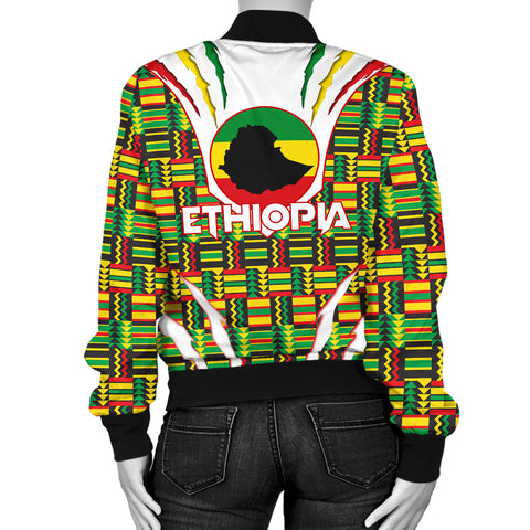 Image of 1stTheWorld Ethiopia Bomber Jacket, Ethiopia Lion Scratch Africa Pattern Women A10