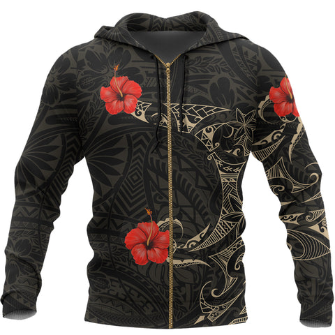 Polynesian Hibiscus Hoodie Tattoo Style (Zip) A7