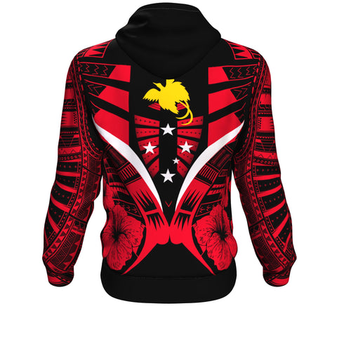Papua New Guinea Tattoo Hoodie Hibiscus - Red Color - Back