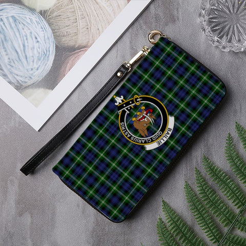 BAILLIE TARTAN CLAN BADGE ZIPPER WALLET HJ4