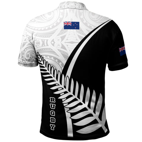 Image of New Zealand Rugby Polo Shirt - New Zealand Fern & Maori Patterns - BN22