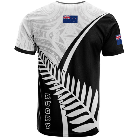 Image of New Zealand Rugby T-Shirt - New Zealand Fern & Maori Patterns - BN22