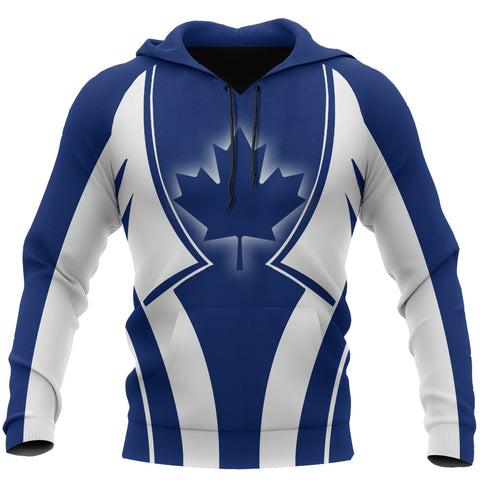 Image of Canada In My Heart Maple Leaf Blue Hoodie K2
