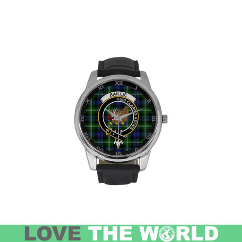 Baillie Modern Tartan Clan Badge Watch Ha9 One Size / Golden Leather Strap Watch Luxury Watches
