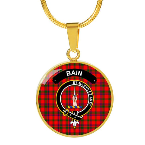 Bain Clan Tartan Golden Necklace And Bangle A9 Luxury Necklace (Gold) Jewelries