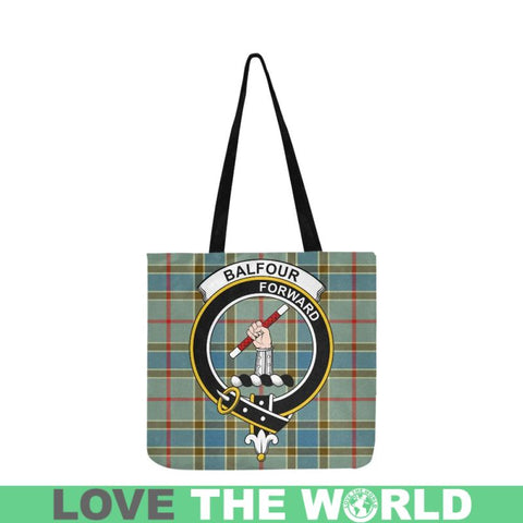Balfour Blue Clan Badge Tartan Reusable Shopping Bag - Hb1 Bags