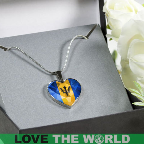 Barbados Crystal Flag Heart-Shaped ( Necklace And Bangle) Dn7 Luxury Necklace (Silver) Jewelries