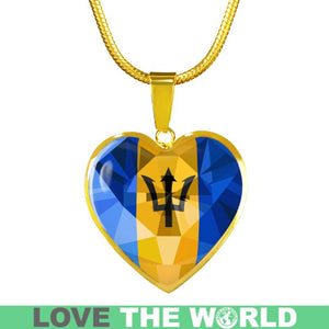 Polygonal Barbados Flag Heart-Shaped Jewelries K5
