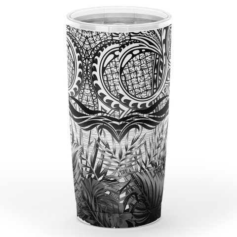Image of Kanaka Maoli (Hawaiian) Tumbler, Map Polynesian Palm Leaves Hibiscus Plumeria Flowers (B&W) | Love The World