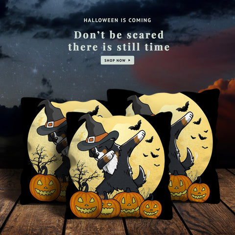 Image of Swiss Bernese Mountain Dab Dance Halloween Pillow Covers - swiss bernese, bernese mountain dog, bernese mountain dab, halloween gift, halloween pillows, home decor, online shopping, dog pillow